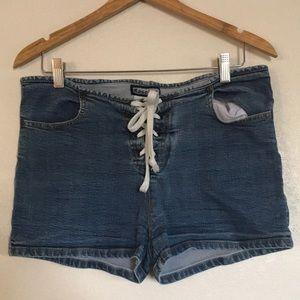 Vintage Gasoline Front Tie Denim Shorts